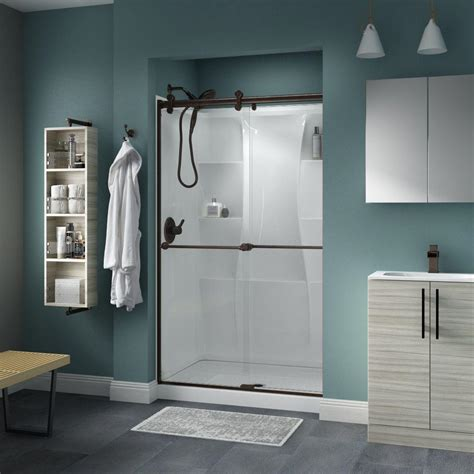 Delta Shower Door Delta Crestfield 48 In X 71 In Semi Frameless Contemporary Sliding Shower Door In Bronze With