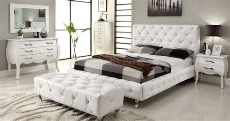 white tufted bedroom set bedroom at home usa tufted white leatherette