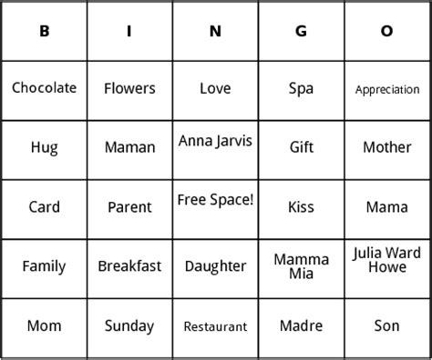 s day bingo card template mothers day bingo by bingo card template