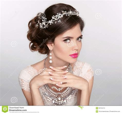 beautiful model with elegant hairstyle stock photo beautiful elegant girl model with jewelry makeup and