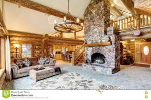 Bright living room interior in american log cabin house stock photo