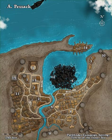 pathfinder golarion map map of the town of pezzack pathfinder golarion maps