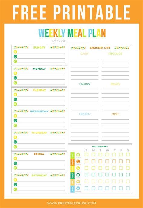 printable meal planner free printable weekly meal planner printable crush