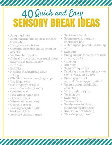 Sensory Break Ideas For Kids Sensory Diet Template