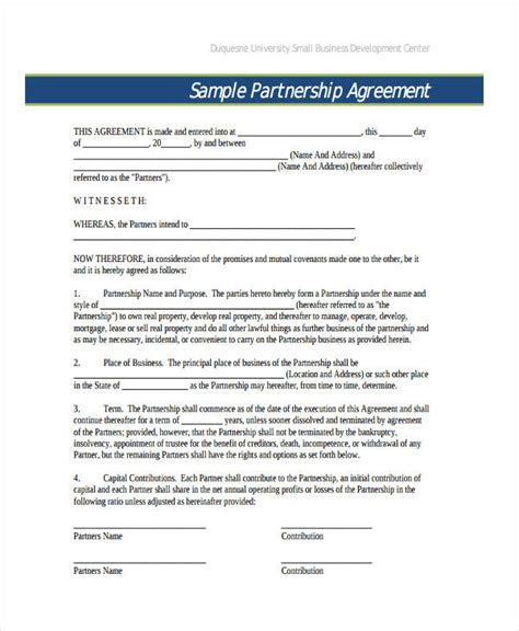 partnership agreement template uk 49 exles of partnership agreements