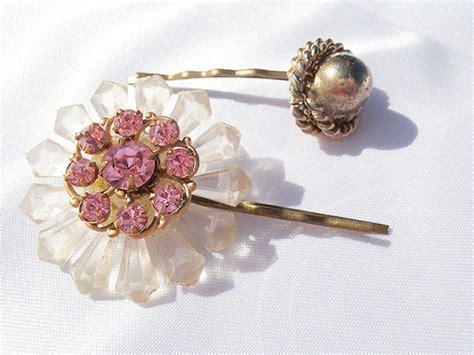 Flower Rhinestone Hair Pin rhinestone flower hair pins pink rhinestone hair pin set