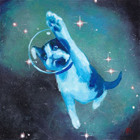 Cat In Space when i get tired of serious i paint cats in