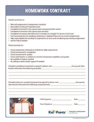 parent child behavior contract template 7 best homework contract for images on
