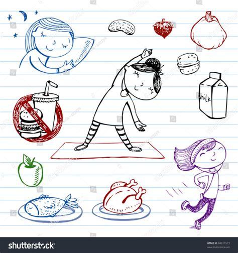 doodle lifestyle healthy lifestyle doodle set stock vector illustration