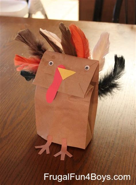 paper bag turkey pattern thanksgiving craft for kids paper bag turkey puppets