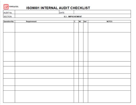 15 Internal Audit Checklist Templates Sles Exles Formats Form Iso Audit Template