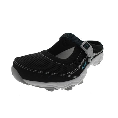 athletic slides shoes ryka womens light weight outdoor leather trim slides