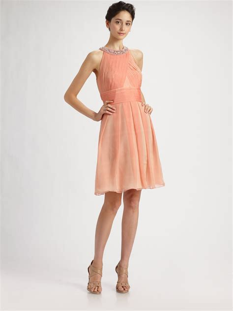 Dress Of The Day Unger Silk Cocktail Dress by Unger Beaded Silk Chiffon Cocktail Dress In Pink Lyst