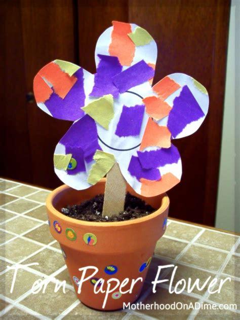 torn paper flowers kids activities saving money home management motherhood   dime