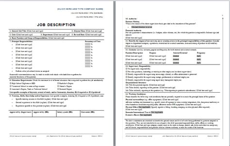 Position Description Template description template free layout format