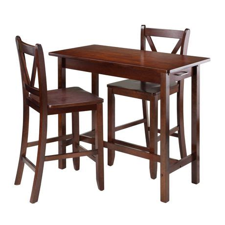 winsome 3 kitchen island table with 2 v back stool