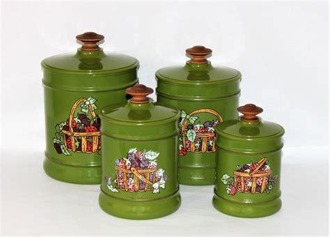 vintage 1970s kromex green canister set