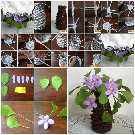 Do It Yourself Home Decor On A Budget diy beautiful paper vase and purple flowers