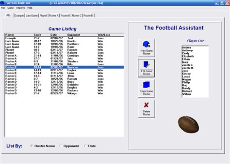 Football Assistant Free Team Roster Software Football Position Roster Template