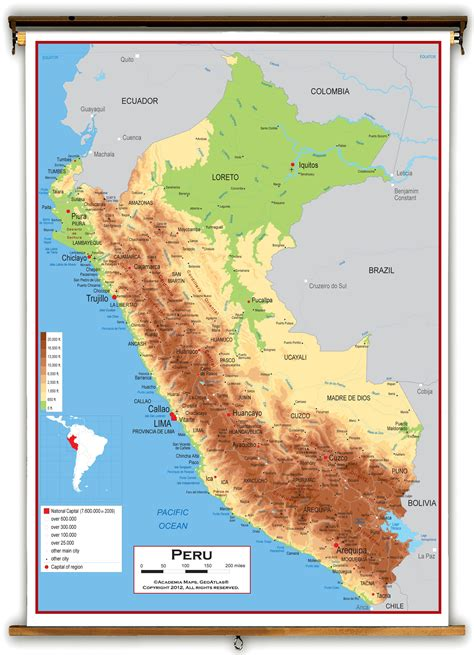 peru on a map peru physical educational wall map from academia maps