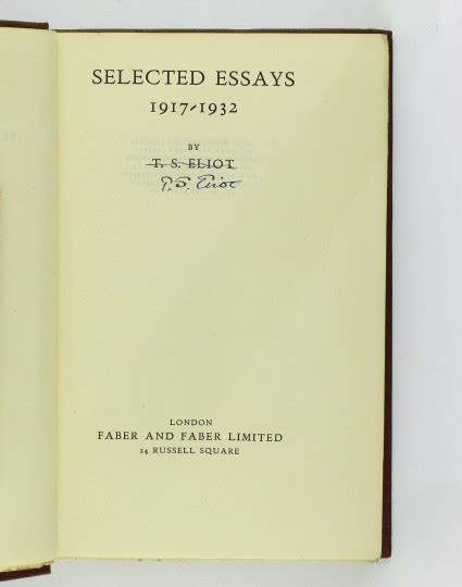 Selected Essays by Selected Essays By Eliot T S Jonkers Books
