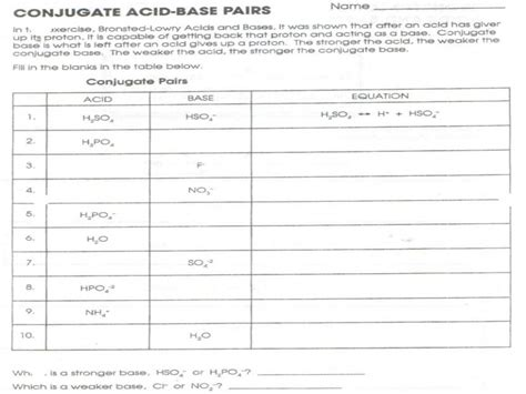 Conjugate Acid Base Pairs Worksheet Answers by Looking Worksheet Acids Bases And Salts
