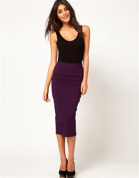 asos collection asos bengaline pencil skirt in purple lyst