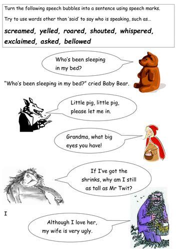 Pshe Homework Ks2 by Twits Speech Marks Roald Dahl By Mrdhenshaw Teaching