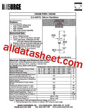 1n5408 diode datasheet 1n5408 datasheet pdf surge components