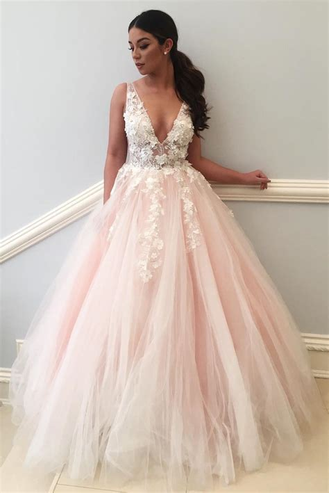V Neck Dress Pink princess v neck pink prom dress
