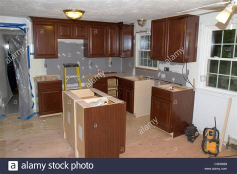 1960 s style american home kitchen during remodeling new