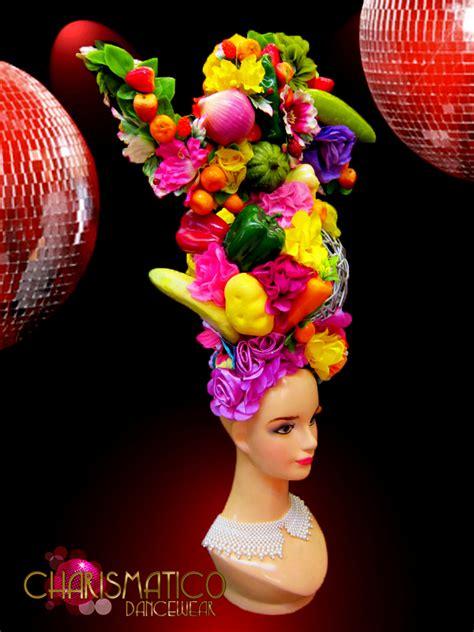 fruit headdress turban style traditional showgirl fruit and