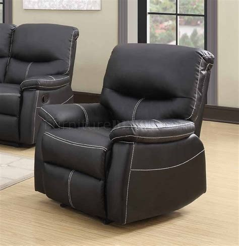 7280 Reclining Sofa In Black Faux Leather W Options Faux Leather Reclining Sofa