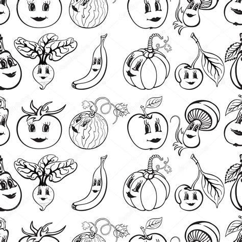 imagenes blanco y negro de frutas conjunto de dibujos animados divertido verduras y frutas