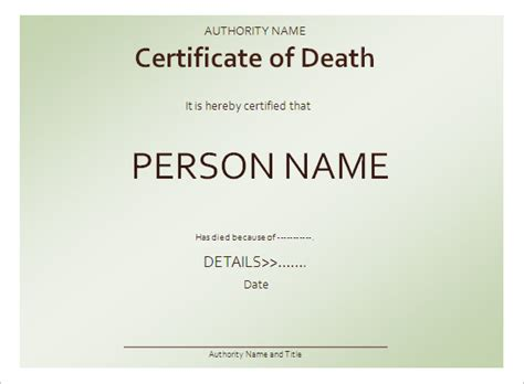 6 death certificate templates free word pdf documents