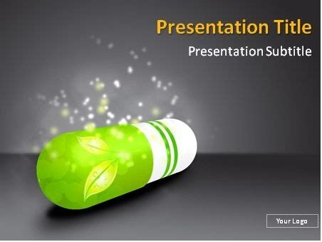 Free Green Pill With Herbs Inside Powerpoint Template This Powerpoint Template Will Fit Pharmacology Ppt Presentation