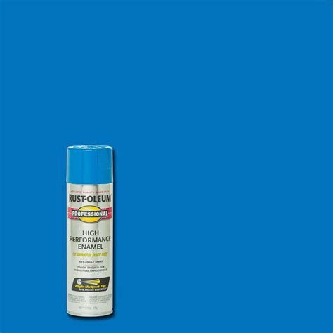 rust oleum professional 15 oz gloss safety blue protective enamel spray paint 7524838 the