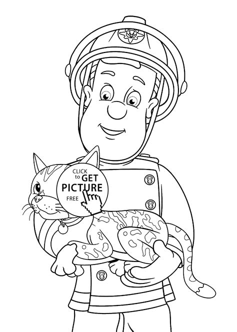 Fireman Sam Coloring Pages For Kids Printable Free Fireman Sam Coloring Pages