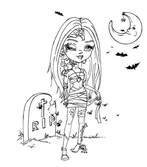 beautiful girl zombie coloring page wicked cool holiday