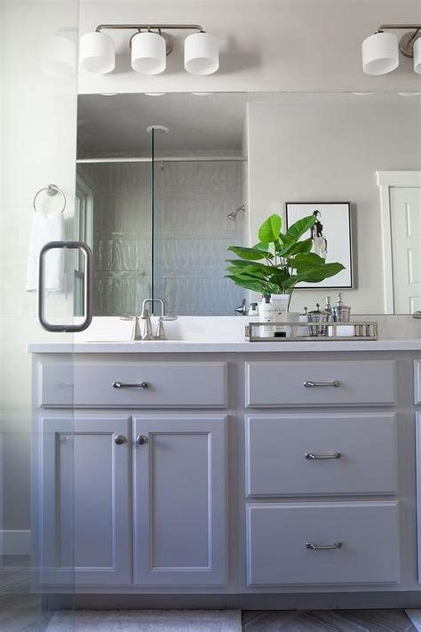 Painted Bathroom Furniture Grey Painted Bathroom Cabinets With Satin Nickel Pulls Transitional Bathroom