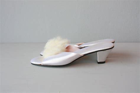 bedroom slippers with heels bedroom slippers boudoir slippers white satin heels fur