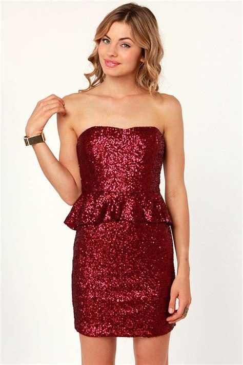 pretty red dress sequin dress strapless dress peplum