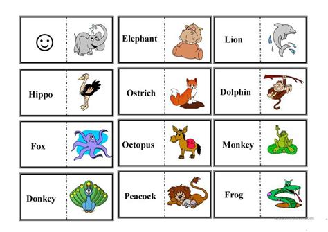 printable animal dominoes animal domino worksheet free esl printable worksheets