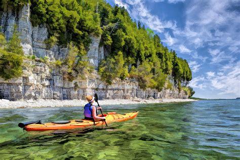 Kayaking In Door County door county kayaking around rock island state park painting by christopher arndt