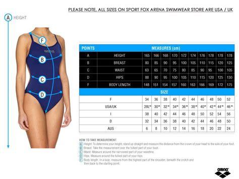 Size Chart Sac Competition Swimwear size charts