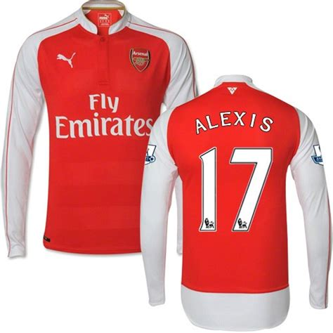 alexis sanchez jersey long sleeve men s 17 alexis sanchez arsenal fc jersey 15 16 england