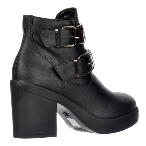 shoekandi chelsea ankle boot buckle block heel