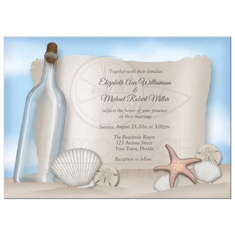 summer theme wedding invitations wedding invitations message from a bottle