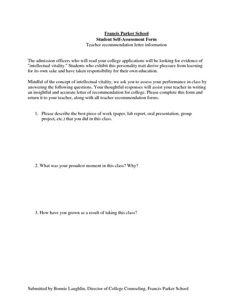 Reference Letter For Poor Student writing exle of self assessment letter writing sle