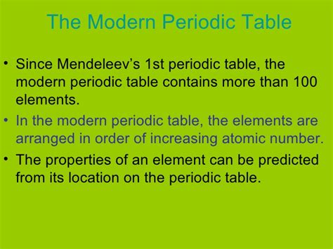 How Is The Modern Periodic Table Organized by Organizing Elements